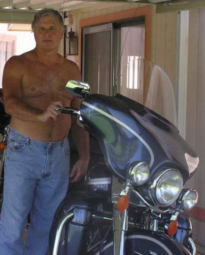Harley Man after a long hot ride