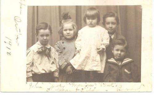 O'Camb Children_John, Mary, Monica, Paul, Barney_1910.JPG